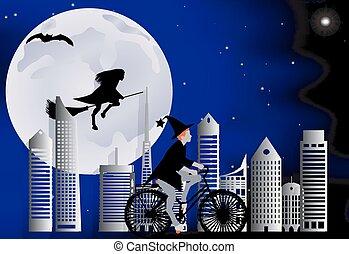 Una bruja en bicicleta alrededor de la ciudad y la bruja volando en una escoba sobre la ciudad en celebración de Halloween