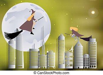 Una bruja volando sobre la ciudad en escobas en una noche de luna en Halloween
