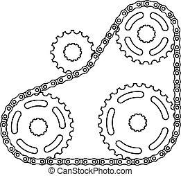 Una cadena industrial de vectores de silueta