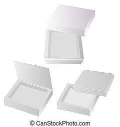 Una caja blanca de cartón. Dulces de regalo. Sobre fondo blanco aislado. Mock up plantilla listo para su diseño. Vector de carga de productos EPS10