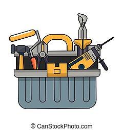 Una caja con herramientas de construcción