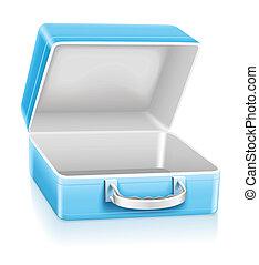 Una caja de almuerzo azul vacía