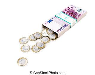 Una caja de dinero en blanco y aislado