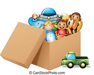 Una caja llena de juguetes diferentes