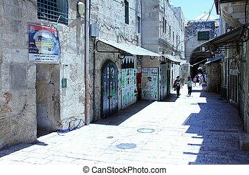 Una calle en el viejo barrio árabe de Jerusalén