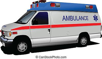 Una camioneta de ambulancias sobre blanco. C