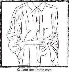 Una camisa metida en vector o ilustración de colores