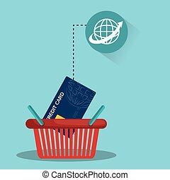 Una canasta con tarjeta de crédito