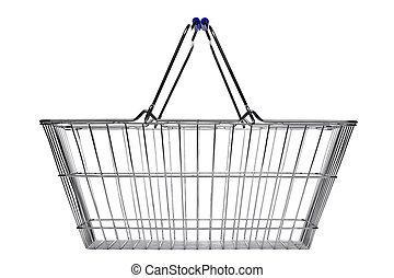 Una canasta de compras aislada en blanco