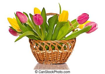 Una canasta de tulipanes
