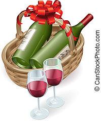 Una canasta de vino