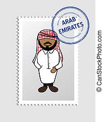 Una caricatura árabe con sello postal