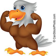 Una caricatura de águila fuerte