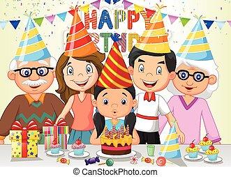Una caricatura feliz de cumpleaños