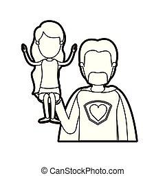 Una caricatura negra gruesa de caricatura sin rostro medio súper héroe con una chica en la mano