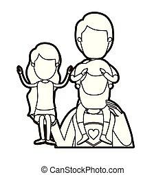Una caricatura negra gruesa de caricatura sin rostro medio súper héroe con una chica en la mano y un chico en la espalda
