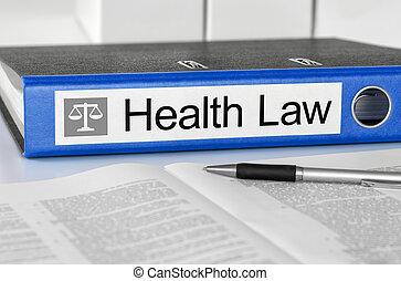 Una carpeta azul con la ley de salud de la discográfica