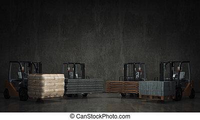 Una carretilla elevadora con materiales de construcción