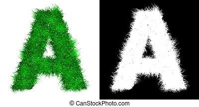 Una carta de capital verde hecha de hierba con máscara alfa