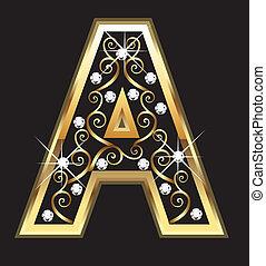 Una carta de oro con adornos arremolinados