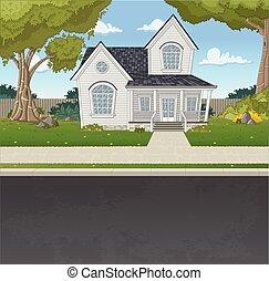 Una casa colorida en el barrio de los suburbios.