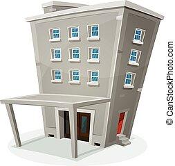 Una casa de construcción con oficinas o apartamentos