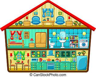 Una casa de dibujos animados en un corte