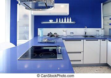 Una casa de diseño moderno de cocina blanca azul