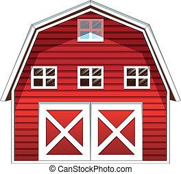Una casa de establo rojo