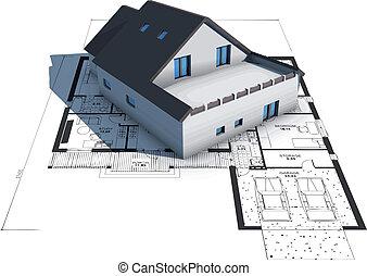 Una casa modelo de arquitectura sobre planos