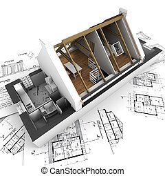 Una casa modelo sin techo en planos de arquitectos
