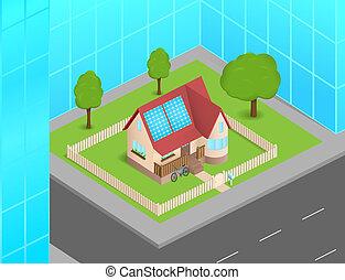 Una casa pequeña con células solares entre rascacielos