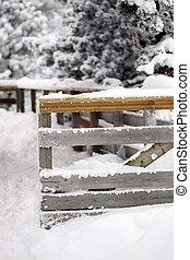 Una cerca cubierta de nieve