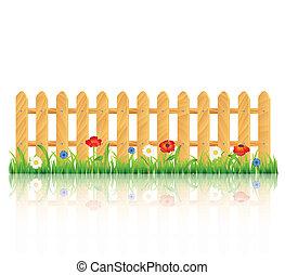 Una cerca de madera sobre la hierba con flores