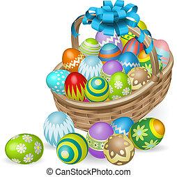Una cesta de huevos pintada de color