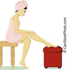 Una chica afeitándose las piernas