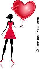 Una chica aislada con un globo de San Valentín