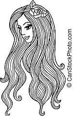 Una chica atractiva con flores en el pelo. Ilustración de vectores