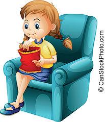 Una chica comiendo comida chatarra mientras se sienta