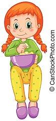 Una chica comiendo palomitas sola