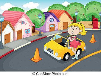 Una chica con auto