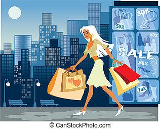Una chica con bolsas de compras