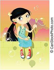 Una chica con burbujas de jabón