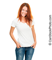 Una chica con camiseta blanca