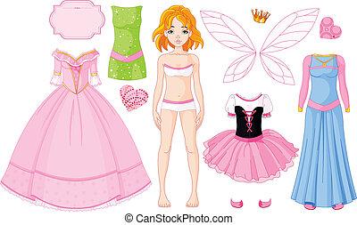 Una chica con diferentes vestidos de princesa