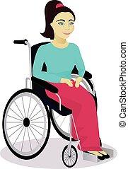 Una chica con discapacidades en una silla de ruedas