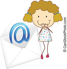 Una chica con envoltura de correo