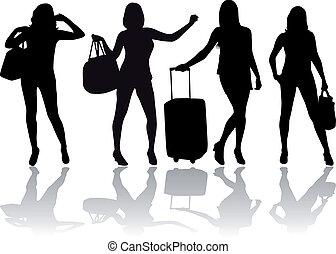 Una chica con equipaje