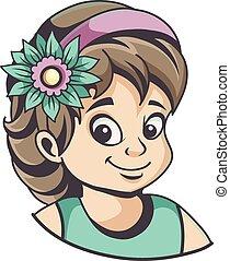 Una chica con flores en el pelo