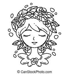 Una chica con flores en el pelo.